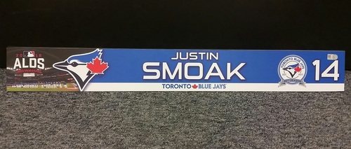 Photo of Authenticated Game Used 2016 ALDS Locker Tag - #14 Justin Smoak