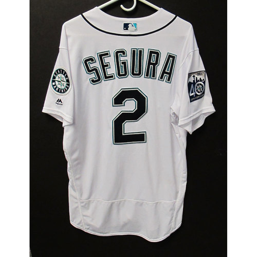 Photo of Jean Segura White 40th Anniversary Game-Used Jersey 7-8-2017