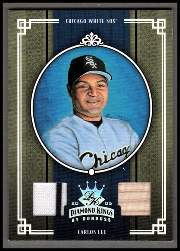 Photo of 2005 Diamond Kings Materials Silver #61 Carlos Lee Bat-Jsy/100