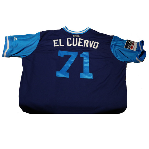 "Photo of Josh ""El Cuervo"" Ravin Los Angeles Dodgers Game-Used Players Weekend Jersey"