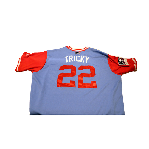 "Photo of Nick ""Tricky"" Martinez Texas Rangers Game-Used Players Weekend Jersey"