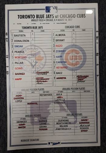 Photo of Authenticated Game Used Line Up Card - August 18, 2017 vs CHC: First Blue Jays Game at Wrigley Field since 2005. 11 inches by 17 inches.