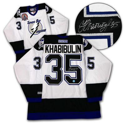 NIKOLAI KHABIBULIN Tampa Bay Lightning SIGNED 04-Cup Jersey