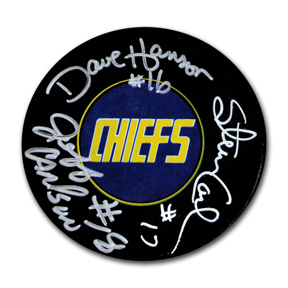 Hanson Brothers Autographed Charlestown Chiefs Puck - Slap Shot