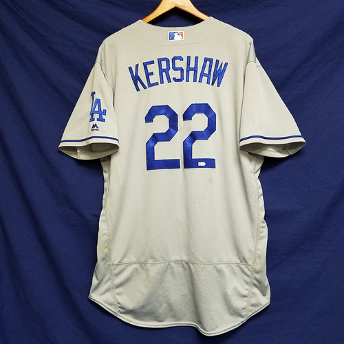 Photo of Clayton Kershaw Game-Used Road Jersey - 10/1/16 vs San Francisco Giants