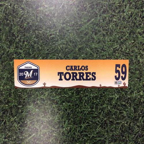 Photo of Carlos Torres 2017 Spring Training Locker Nameplate