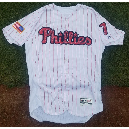 Photo of 2017 Game-Used Stars & Stripes Home Maikel Franco Jersey (homerun)
