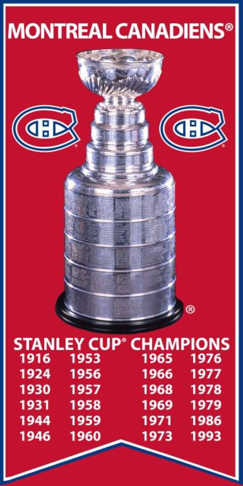 Montreal Canadiens - Stanley Cup Banner 14x28 Canvas with Cup Photo