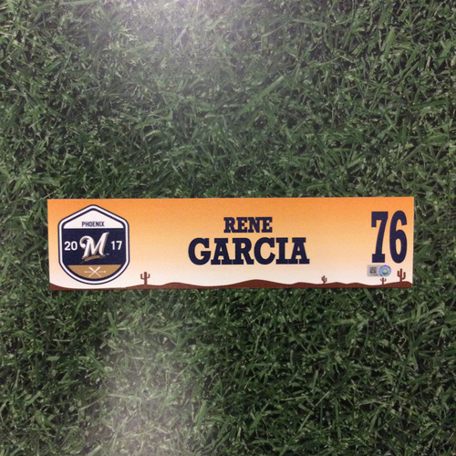 Photo of Rene Garcia 2017 Spring Training Locker Nameplate