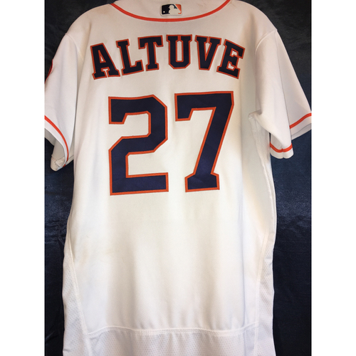 Photo of Game-Used Opening Day Home Jersey: Jose Altuve