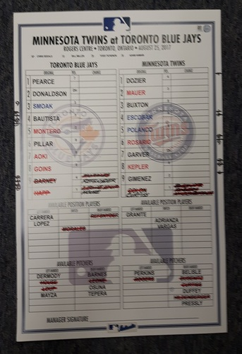 Photo of Authenticated Game Used Line Up Card - August 25, 2017 vs MIN: 1st Ever Players Weekend Game. 11 inches by 17 inches.