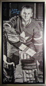 Johnny Bower Signed 14x28 Canvas Framed Maple Leafs B&W Closeup