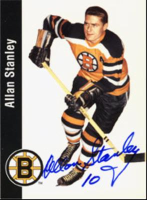 ALLAN STANLEY Boston Bruins SIGNED Card