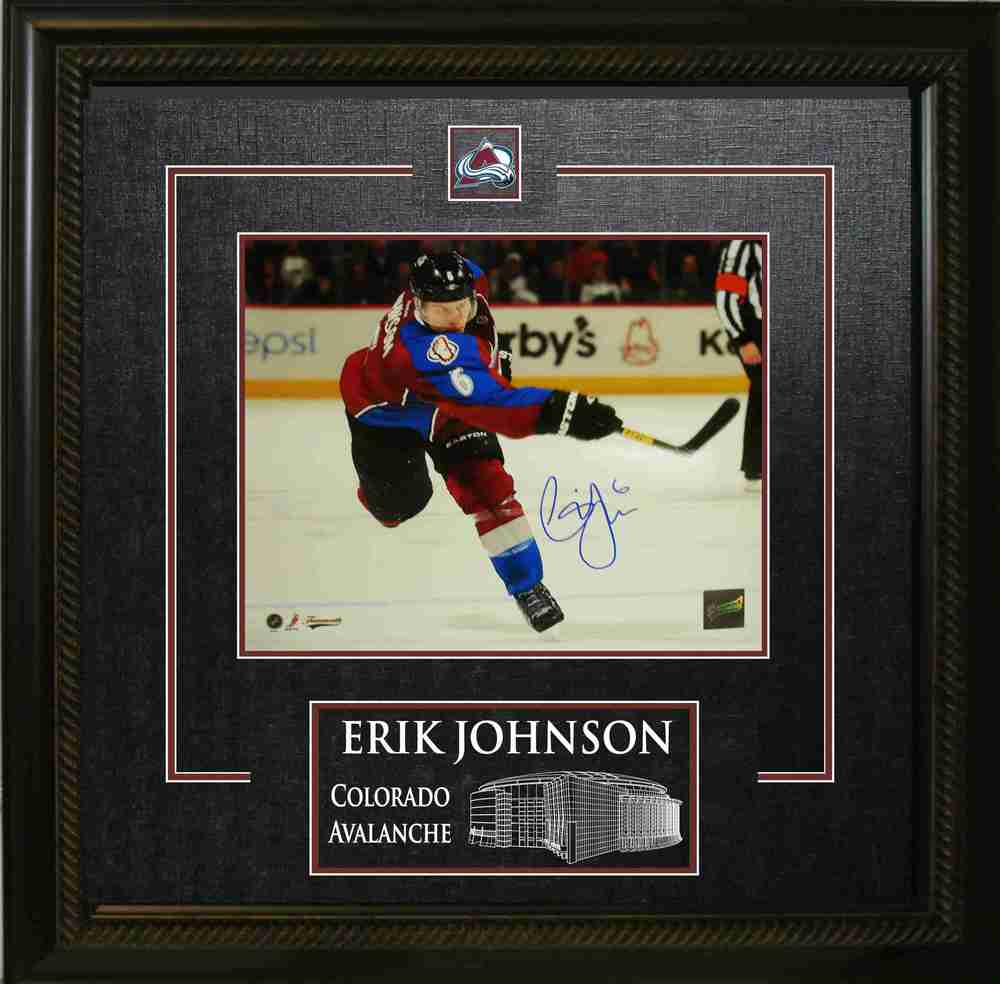 Erik Johnson - Signed & Framed 8x10 Etched Mat - Coloardo Avalanche Action Shot