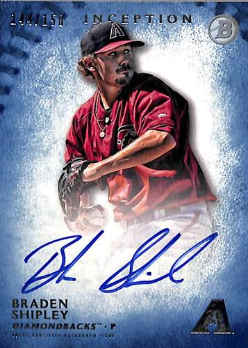 Photo of 2015 Bowman Inception Prospect Autographs Blue #PABS Braden Shipley #'d to 150