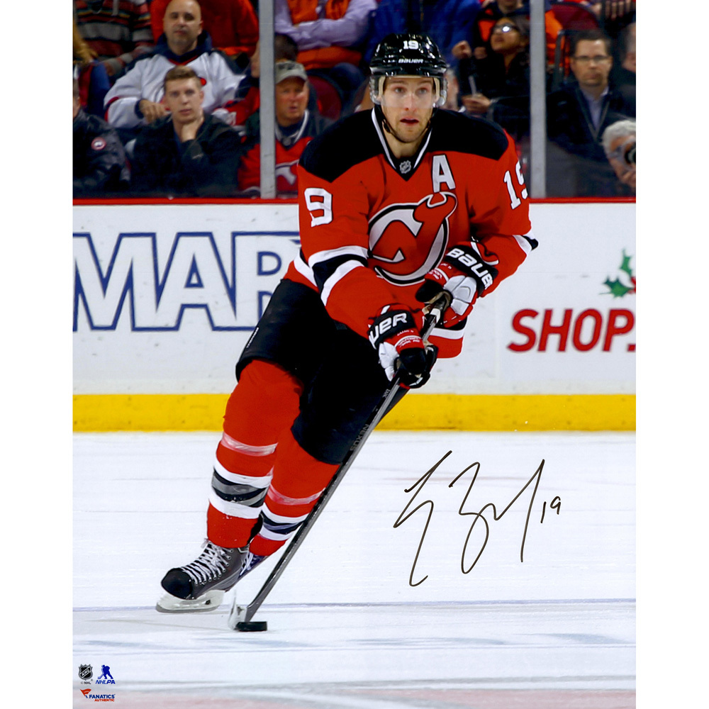 Travis Zajac New Jersey Devils Autographed Skating with Puck 16