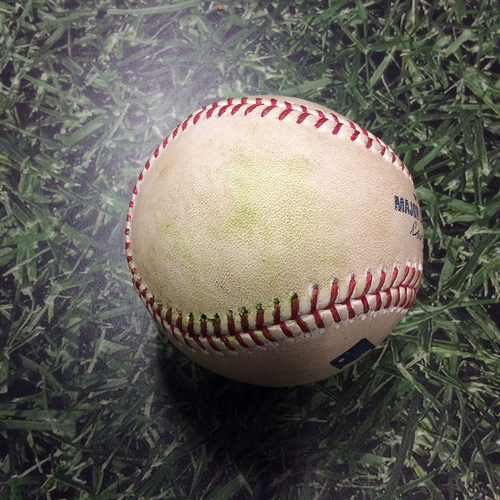Photo of Game-Used Baseball BOS@MIL 05/09/17 - Drew Pomeranz to Eric Thames: Single