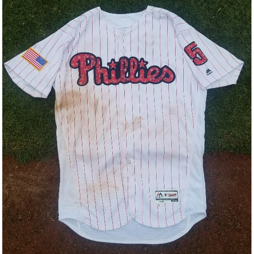 Photo of 2017 Game-Used Stars & Stripes Home Nick Williams Jersey