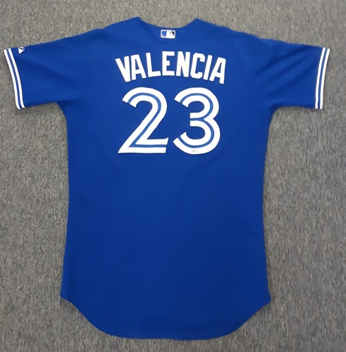 Photo of Authenticated Game Used Jersey - #23 Danny Valencia (April 18, 2015). Valencia was 4-for-4 with 2 doubles, 1 Stolen Base and 1 Run.