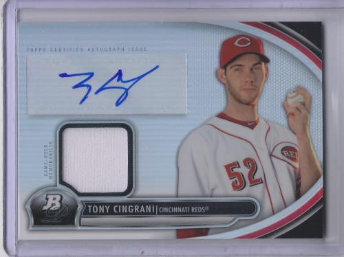 Photo of 2013 Bowman Platinum Relic Autographs #TC Tony Cingrani -- Dodgers post-season