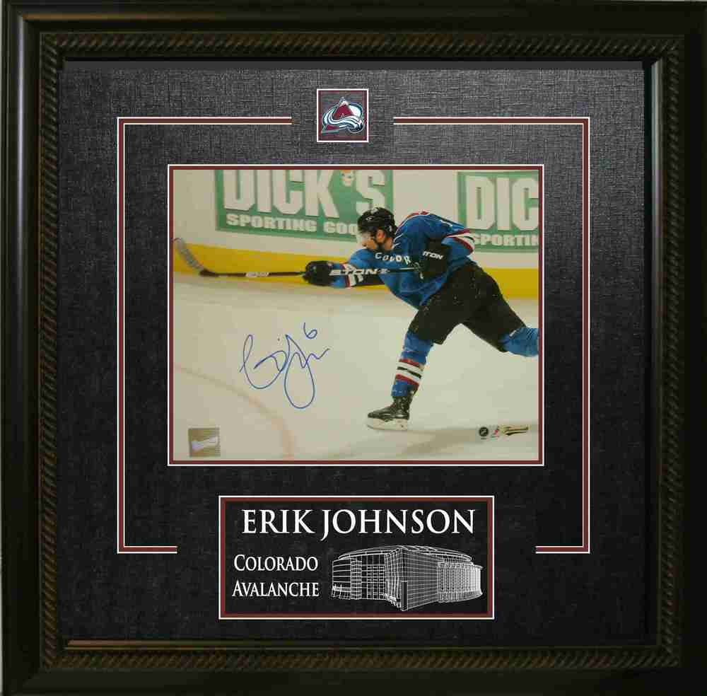 Erik Johnson Signed 8x10 Action Shot in 3rd Jersey