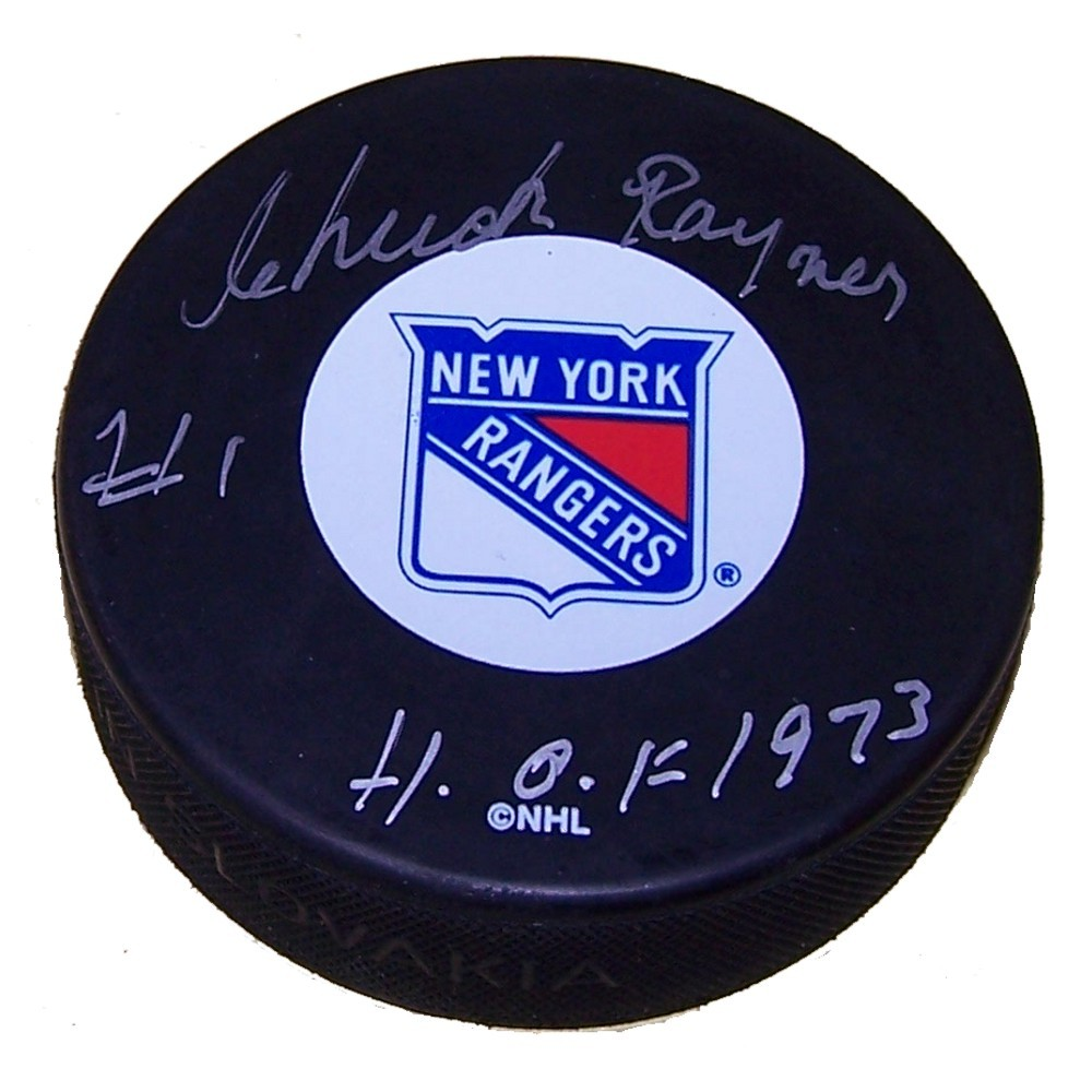 Chuck Rayner (deceased) Autographed New York Rangers Puck