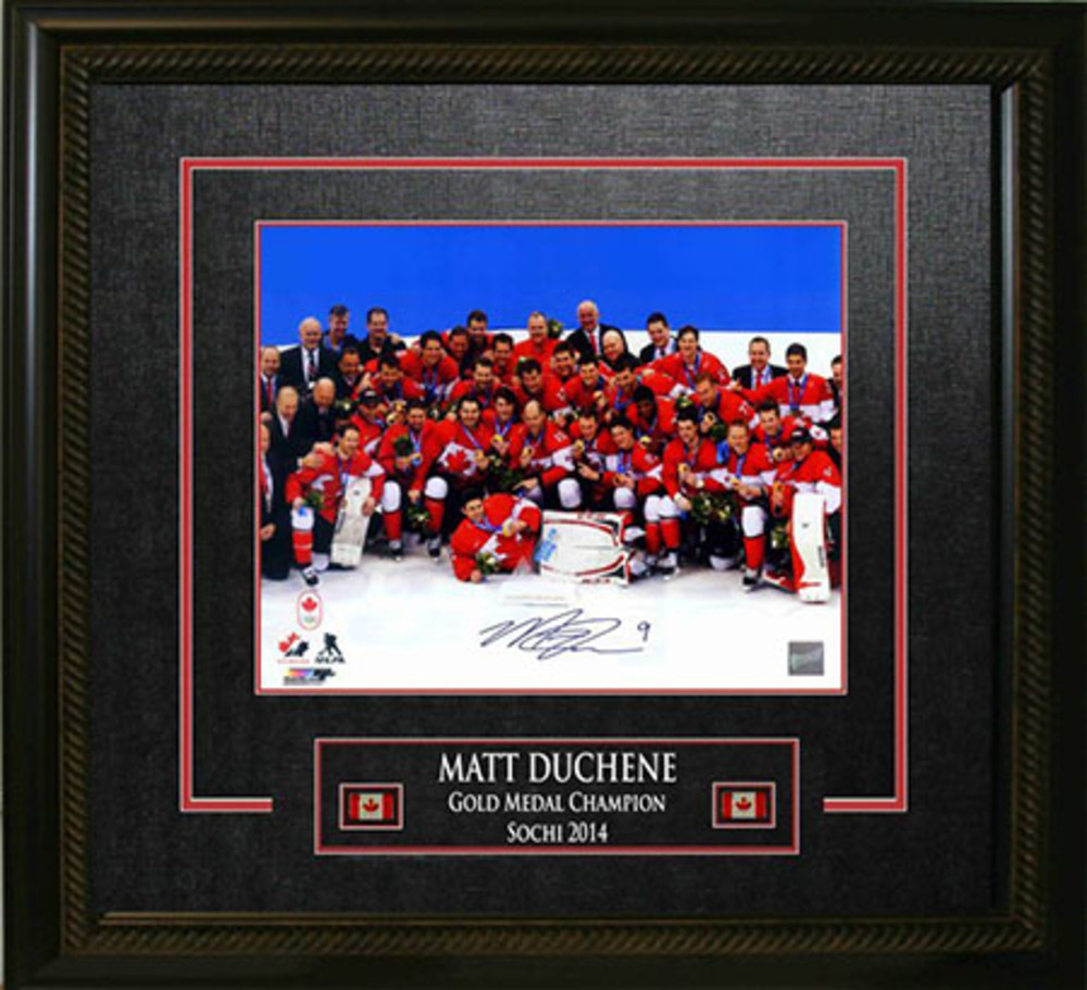 Matt Duchene - Signed & Framed 16x20 16x20 Etched Mat - Team Canada 2014 Olympics Team Celebration