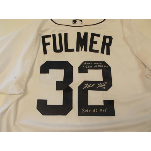 Photo of Autographed Game-Used Michael Fulmer Home Jersey: 11th Win of 2016