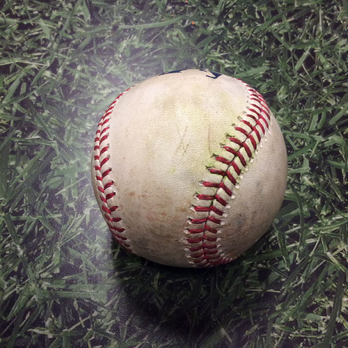 Photo of Game-Used Baseball BOS@MIL 05/10/17 - Chase Anderson to Dustin Pedroia: Single