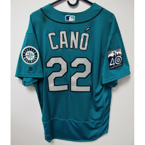 Photo of Robinson Cano Green 40th Anniversary Game-Used Jersey, 7-7-2017 (Size 48)