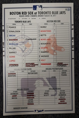 Photo of Authenticated Game Used Line Up Card - August 28, 2017 vs BOS: Kimbrel's 30th Save of the Season. 11 inches by 17 inches.