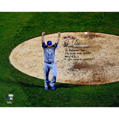 "Photo of Wade Davis Kansas City Royals 2015 MLB World Series Champions Autographed 16"" x 20"" 2015 World Series Photograph with Multiple Inscriptions. #1 in a Limited Edition of 50"