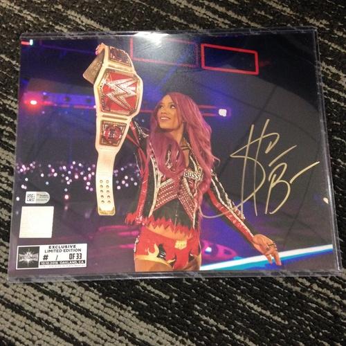 Photo of Sasha Banks SIGNED 8 x 10 Limited Edition WrestleMania 33 Photo (#1 of 33) (w/ Title)