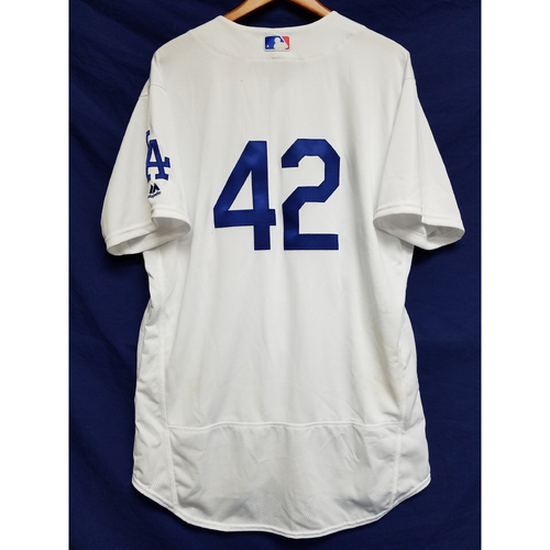 "Photo of Corey Seager Game-Used ""42"" Jersey"