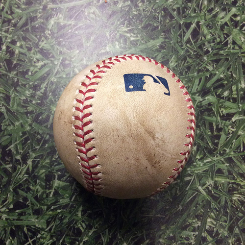 Photo of Game-Used Baseball CHC@MIL 04/07/17 - Jimmy Nelson to Kyle Schwarber: Strikeout