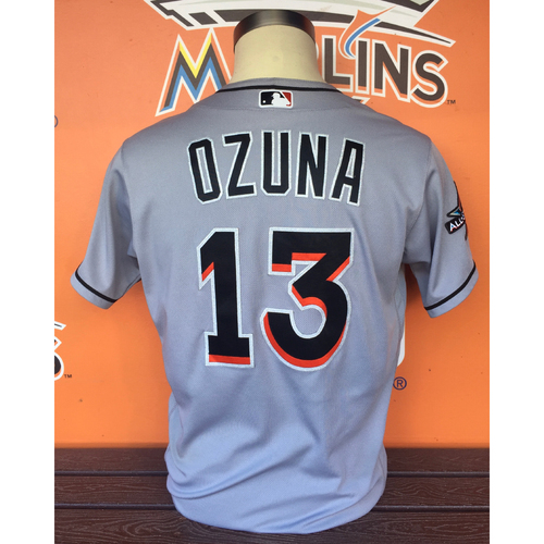 Photo of Game-Used Jersey: Marcell Ozuna vs Texas Rangers 7/26/17 (Marlins Record)