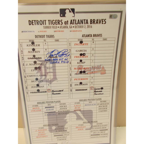 Photo of Autographed Game-Used Line-Up Card: Miguel Cabrera Final Base Hit in Turner Field