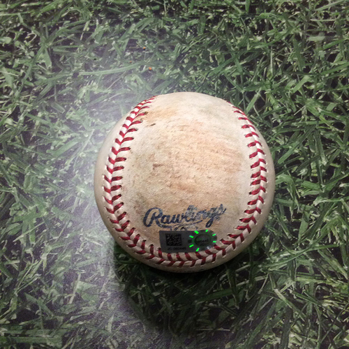 Photo of Game-Used Baseball BOS@MIL 05/11/17 - Jimmy Nelson to Mookie Betts: Ball 4, Walk