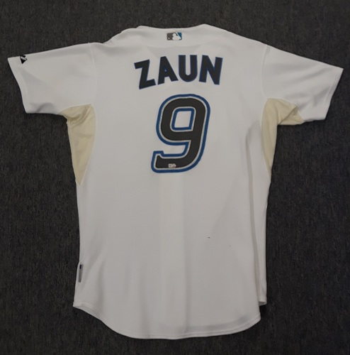 Photo of Authenticated Game Used Jersey - #9 Gregg Zaun (July 29, 2008).