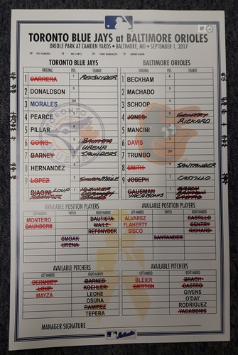 Photo of Authenticated Game Used Line Up Card - September 1, 2017 vs BAL: Biagini 10 Strikeout Game and 1st Game as a Blue Jay for Teoscar Hernandez. 11 inches by 17 inches.