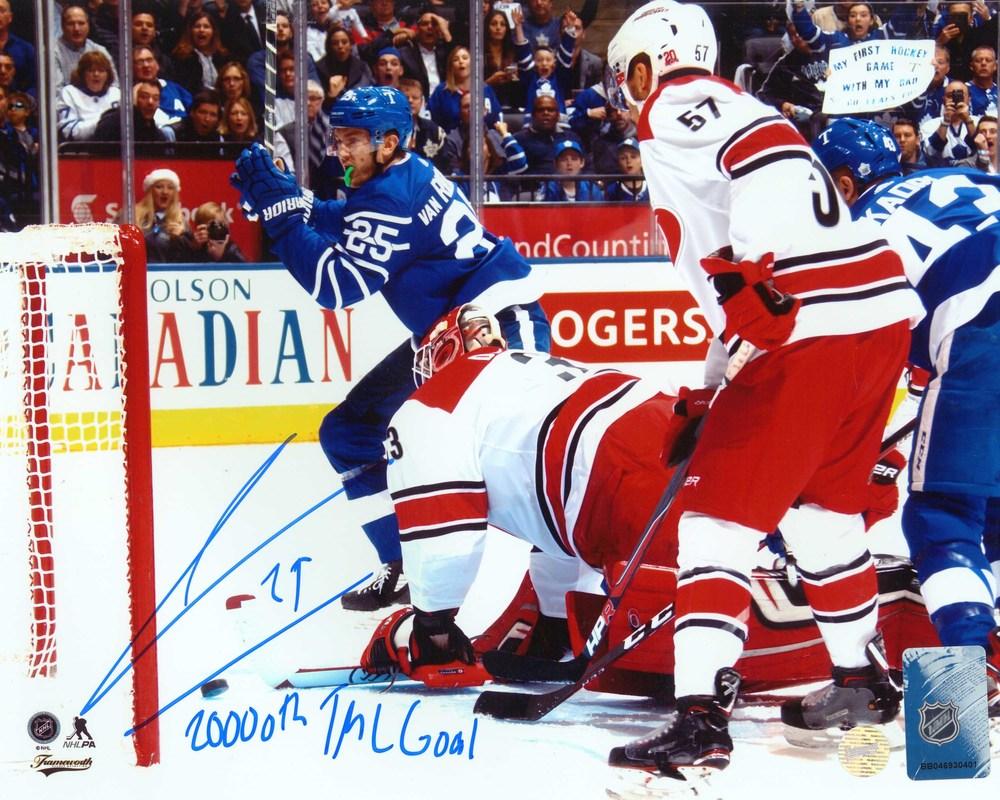 James Van Riemsdyk - Signed 8x10 Unframed Maple Leafs Scoring-H Insc. 20,000th TML Goal
