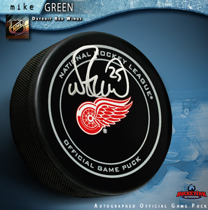 MIKE GREEN Signed Detroit Red Wings Official Game Puck