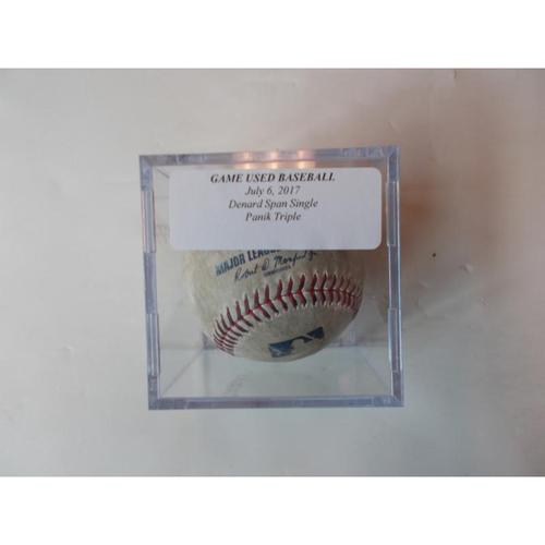 Photo of Game-Used Baseball: Denard Span Single & Joe Panik Triple