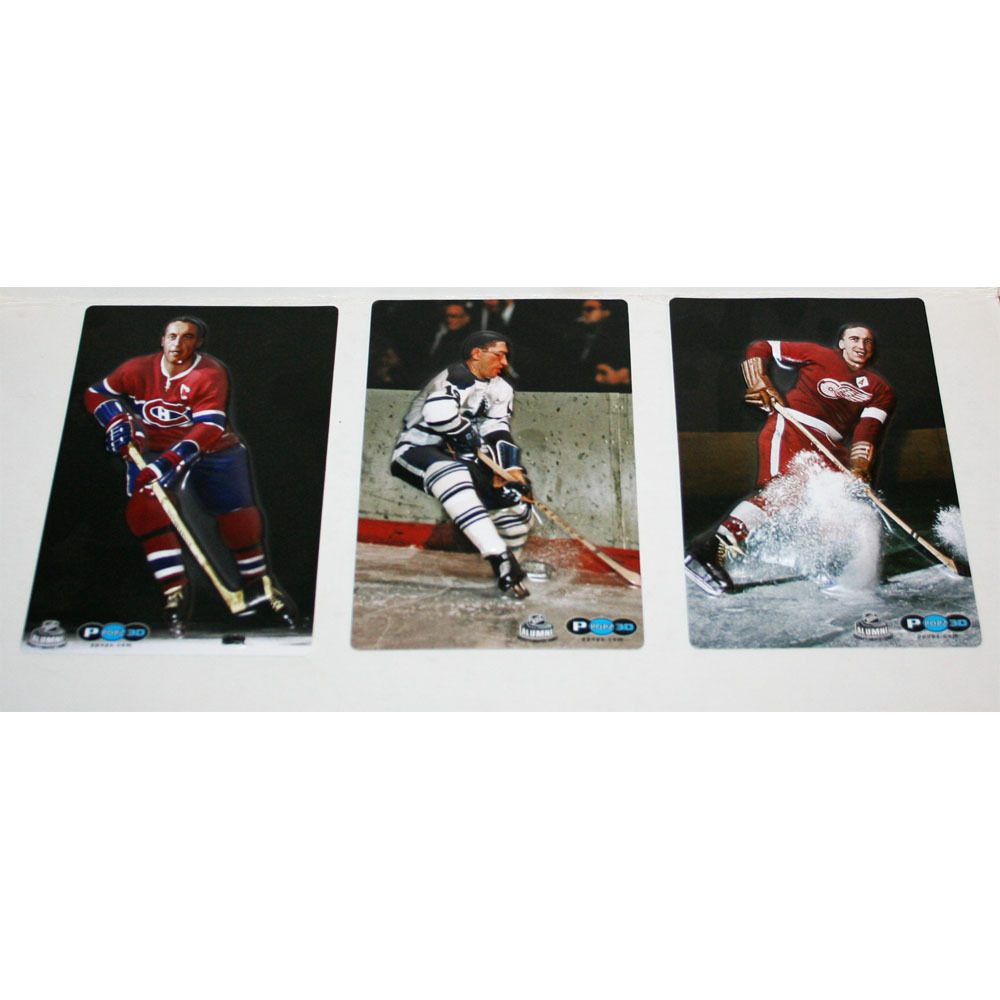 Al Abour, Jean Beliveau & Ted Lindsay P PoPz 3D Hockey Cards