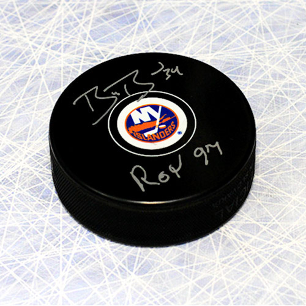 Bryan Berard New York Islanders Autographed Hockey Puck with ROY 1997 Note