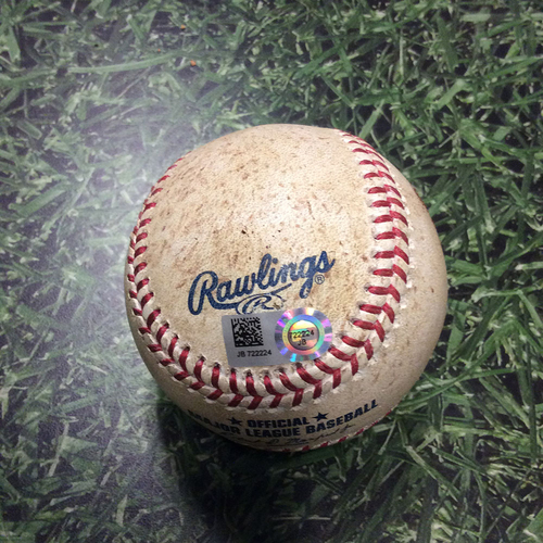 Photo of Game-Used Baseball COL@MIL 04/06/17 - Antonio Senzatela to Jonathan Villar: Strikeout