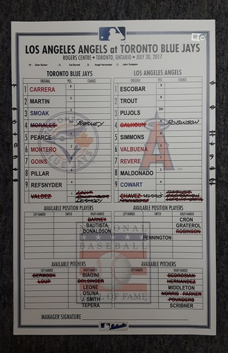 Photo of Authenticated Game Used Lineup Card - July 30th, 2017 vs LA Angels: Steve Pearce's 2nd Walkoff Grand Slam in 4 Days
