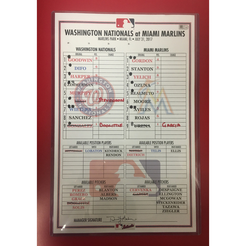 Photo of Game-Used Line-up Card: July 31, 2017