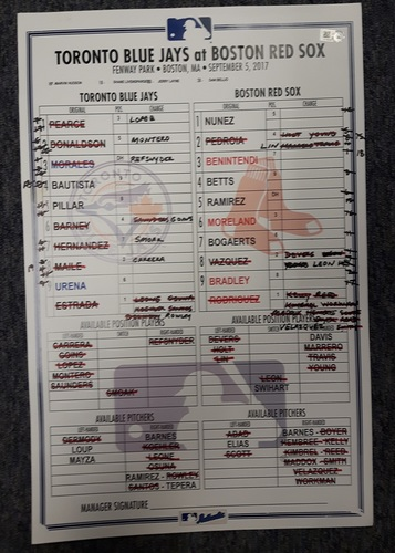 Photo of Authenticated Game Used Line Up Card - September 5, 2017 vs BOS: 19 Inning Game. 11 inches by 17 inches.
