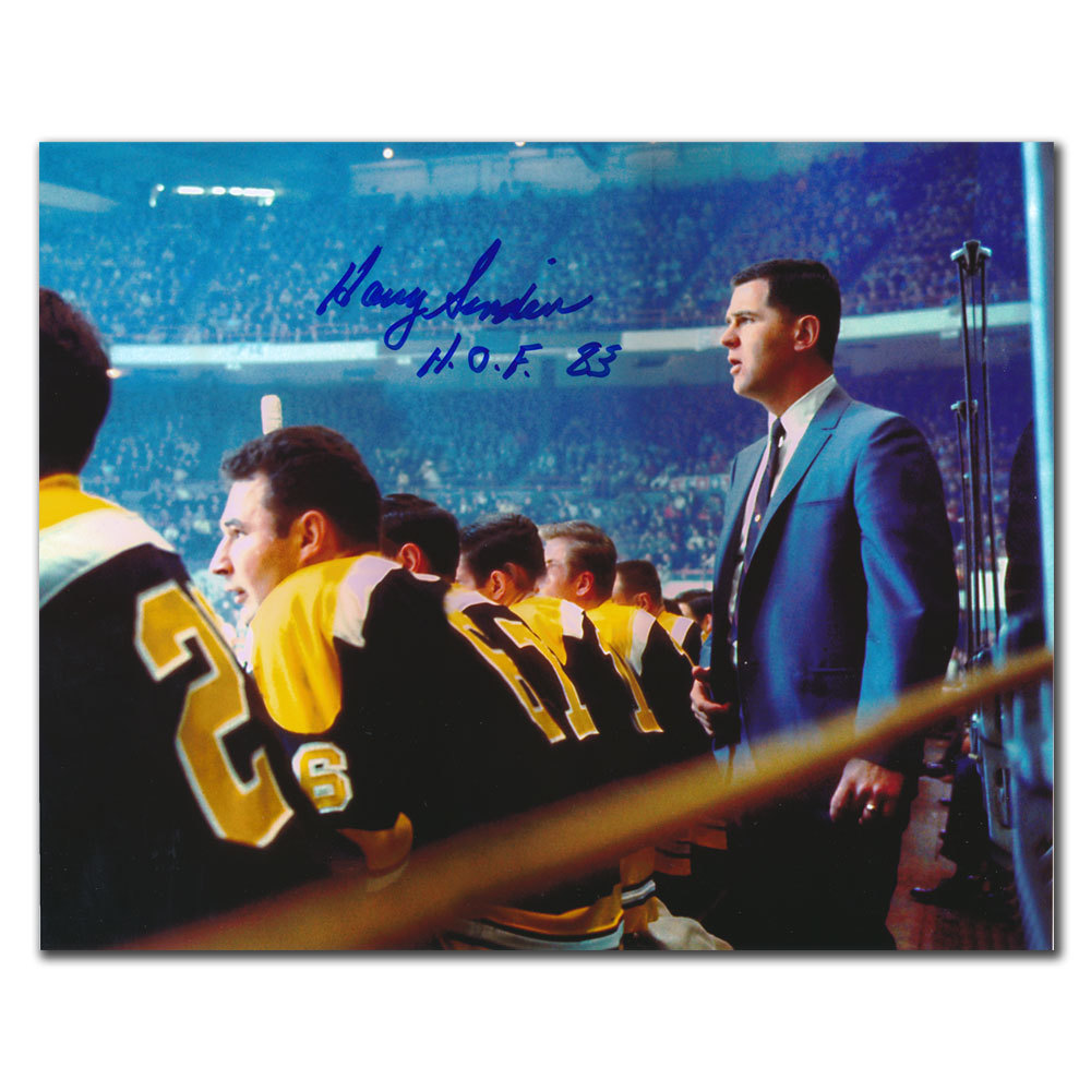 Harry Sinden Boston Bruins HOF Behind the Bench Autographed 8x10